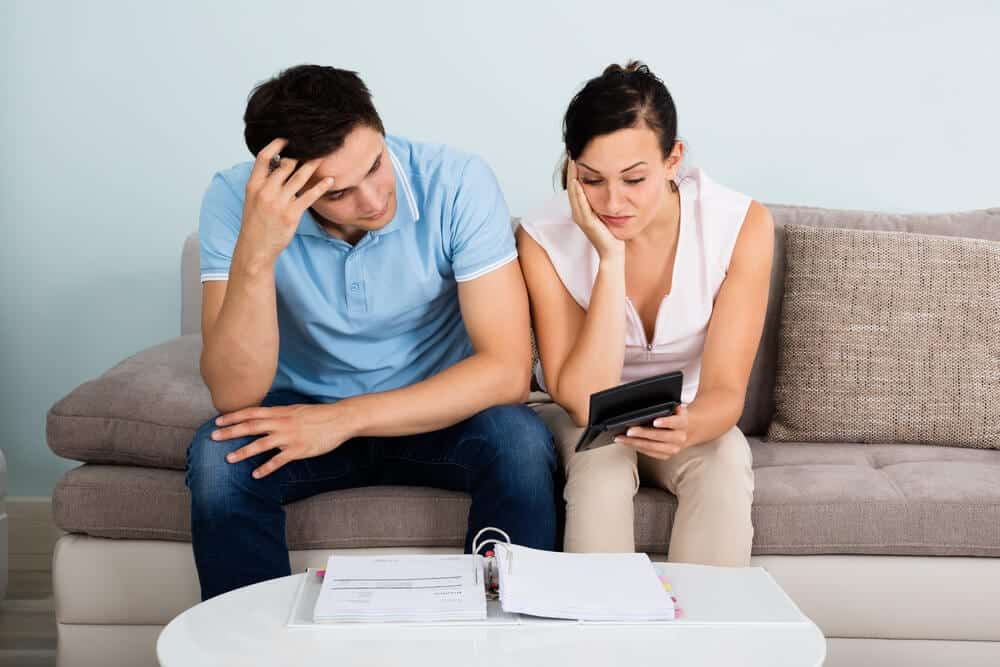 Young couple filing for bankruptcy