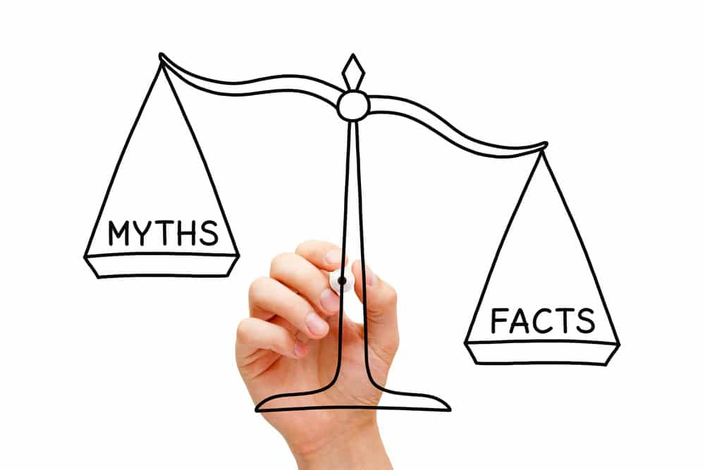 Hand drawing myth v. fact scale - bankruptcy attorney