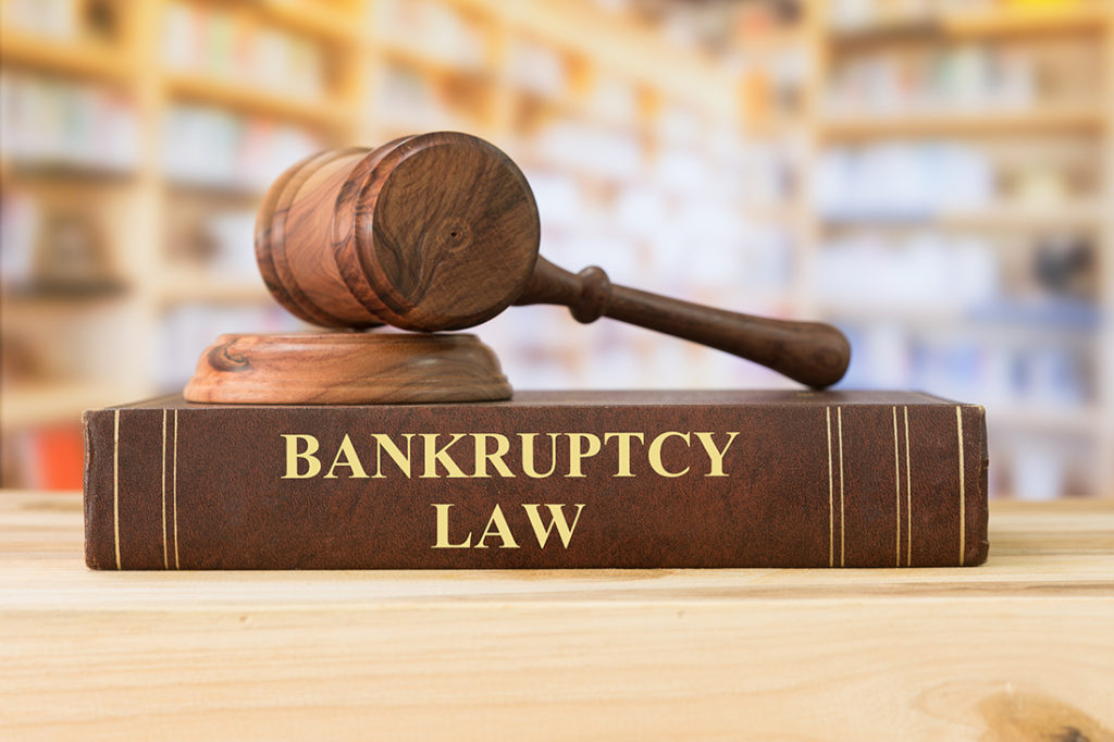 Bankruptcy law book with gavel on top